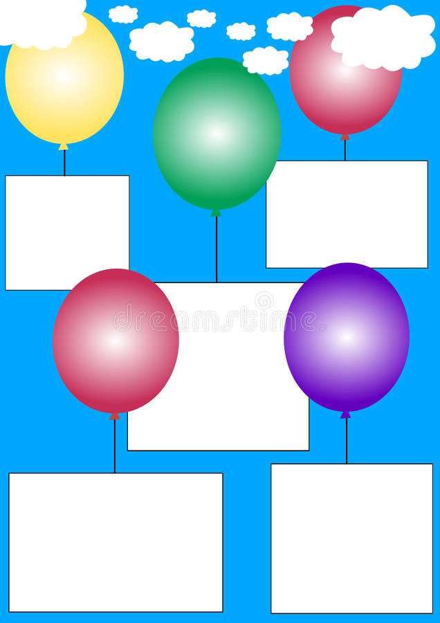 White banners on balloons royalty free stock photography