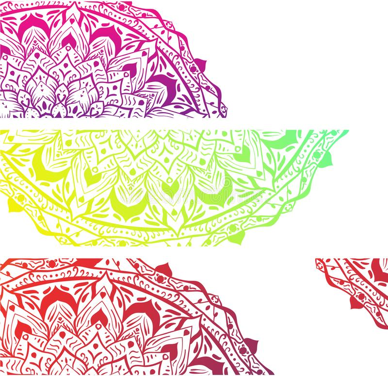 White banners with colorful mandalas. vector illustration