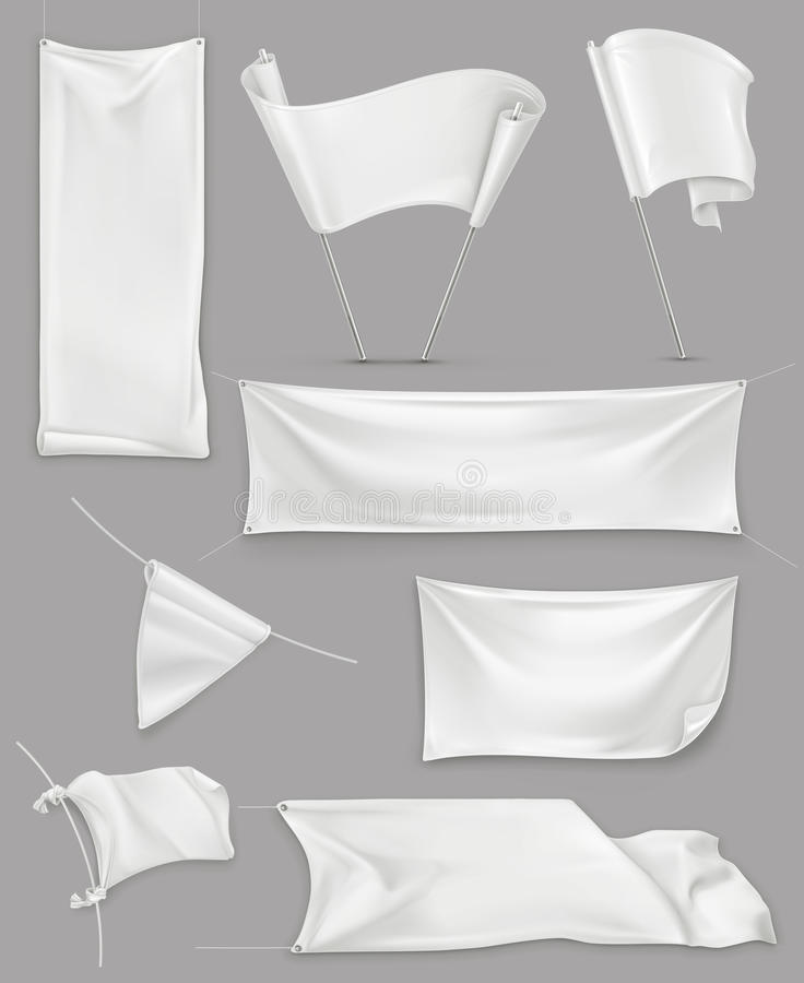 White banners and flags vector illustration