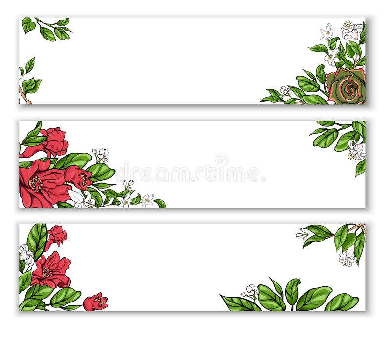 White banners with floral pattern. stock illustration