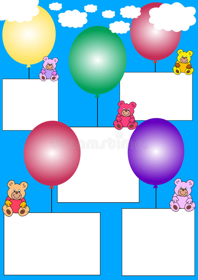 White banners with teddies on balloons stock photography