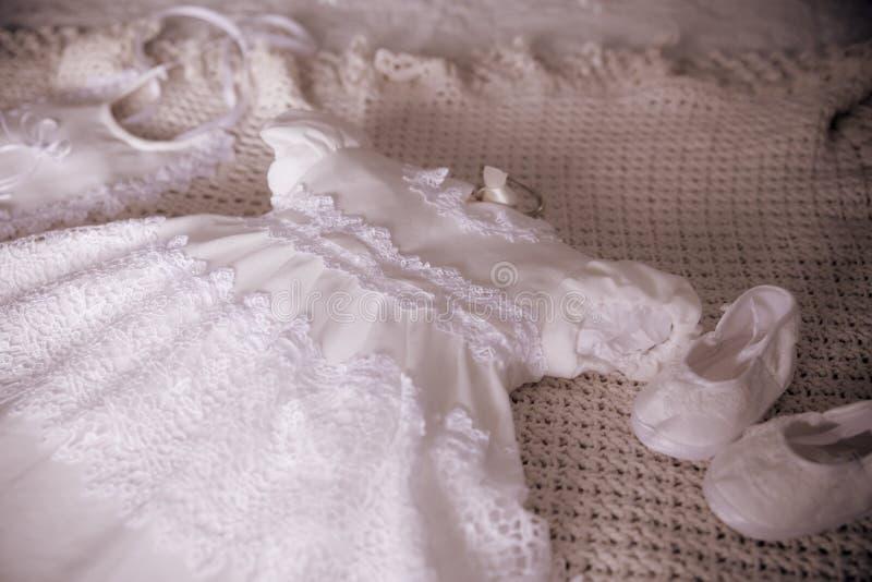 White Baptism Christening Dress for Girl royalty free stock photo