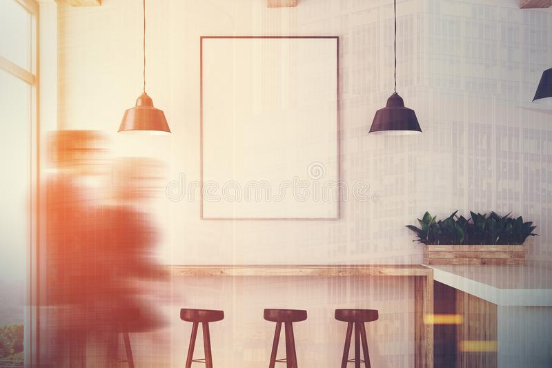 White wooden bar, stand and poster closeup toned royalty free illustration