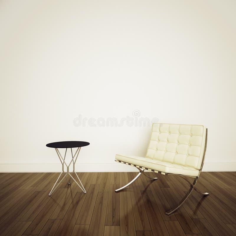 White barcelona chair in modern comfortable interi. Modern comfortable interior office and big space stock illustration