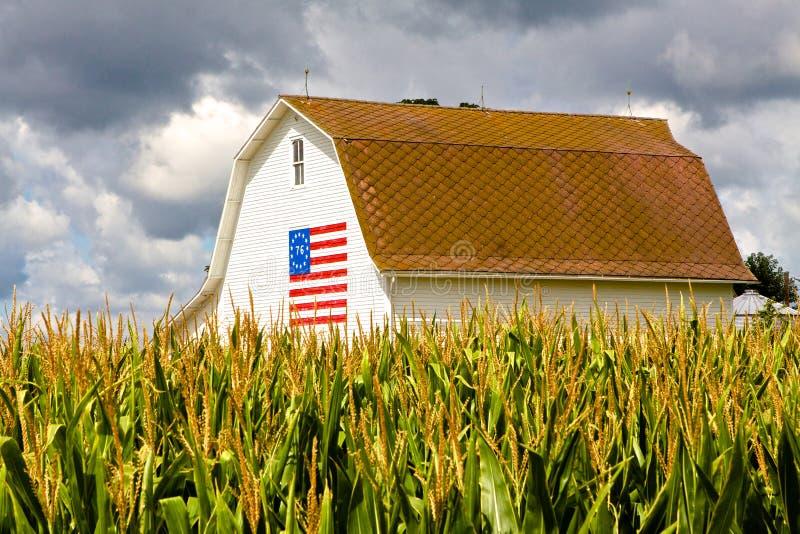 White Barn With Centennial Flag royalty free stock photo
