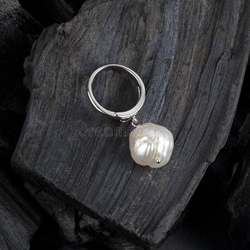 White baroque pearl pendant royalty free stock images