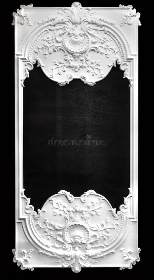 White bas relief frame. Over black wall stock photos