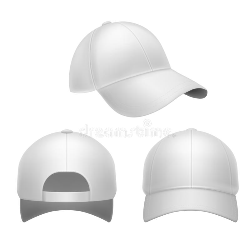 White baseball cap. 3d mockup hat, head caps back, front and side view. Corporate uniform clothes, realistic fashion vector illustration