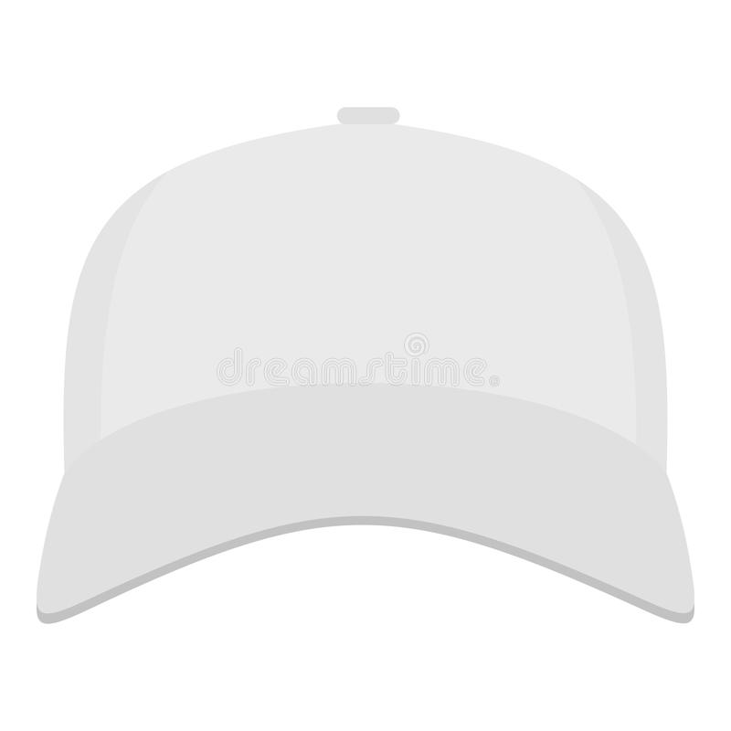 White baseball cap in front icon, flat style. White baseball cap in front icon. Flat illustration of white baseball cap in front vector icon for web stock illustration
