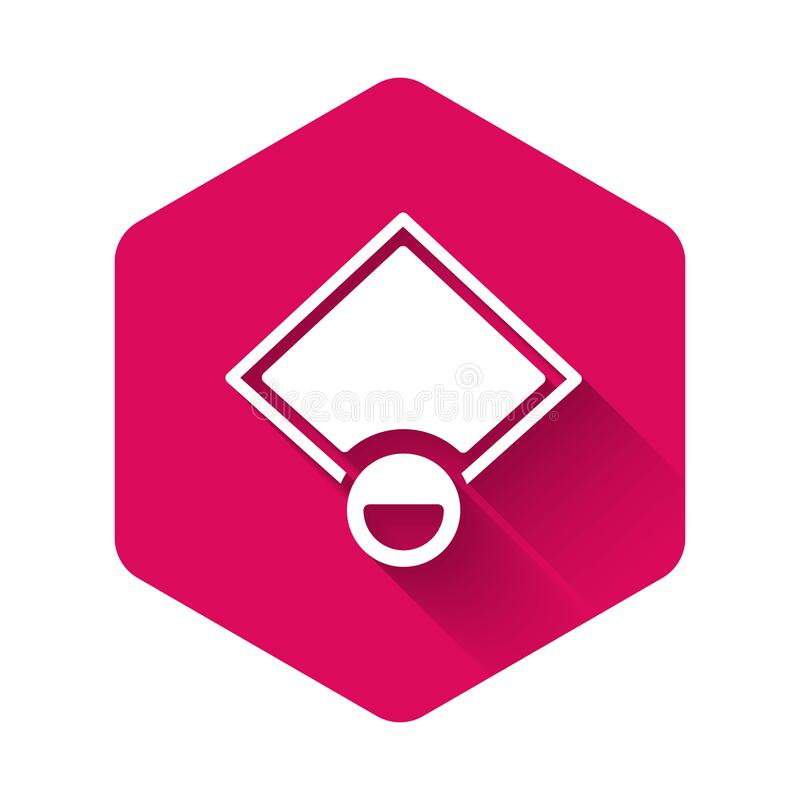 Free White Baseball Field Icon Isolated With Long Shadow Background. Baseball Map. Pink Hexagon Button. Vector Stock Photos - 214605453