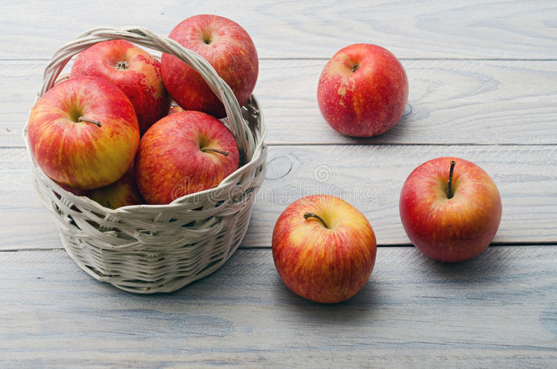 Download White Basket with Apples stock photo. Image of wood, life - 33741858