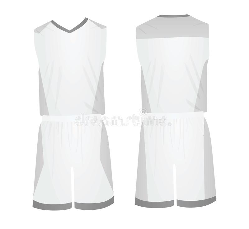 White basketball uniform. front and back view. Vector illustration vector illustration