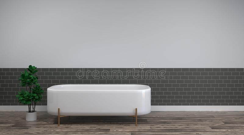 White bath is on the clean wood floor empty room interior background home designs ,3drendering Home improvement sanitary ware royalty free illustration