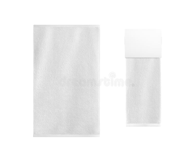 White bath textile items set isolated. Empty retail hanger with folded terry towel stock images