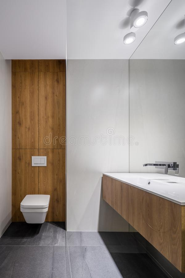 White bathroom with wooden details royalty free stock photography