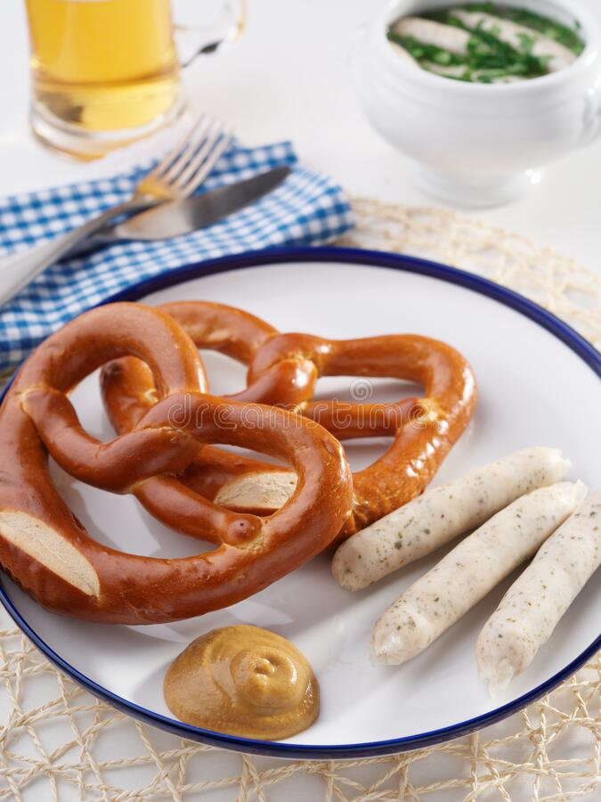 White Bavarian Sausage With Sweet Mustard And Pretzel royalty free stock images