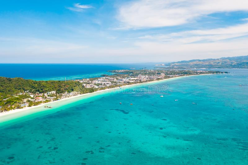 White beach on the island of Boracay, Philippines, top view stock photo