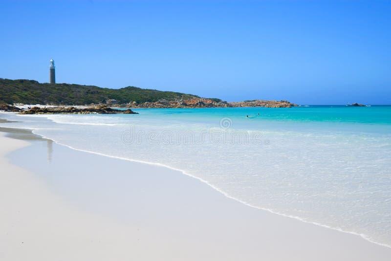 White Beach and Lighthouse. Perfect White Beach and Lighthouse in Tasmania, Australia royalty free stock photos