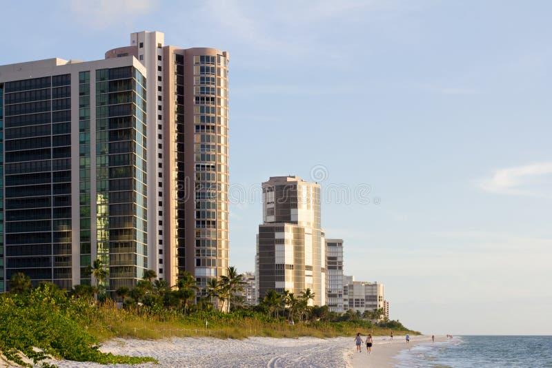 White beach in Naples, Florida royalty free stock photo