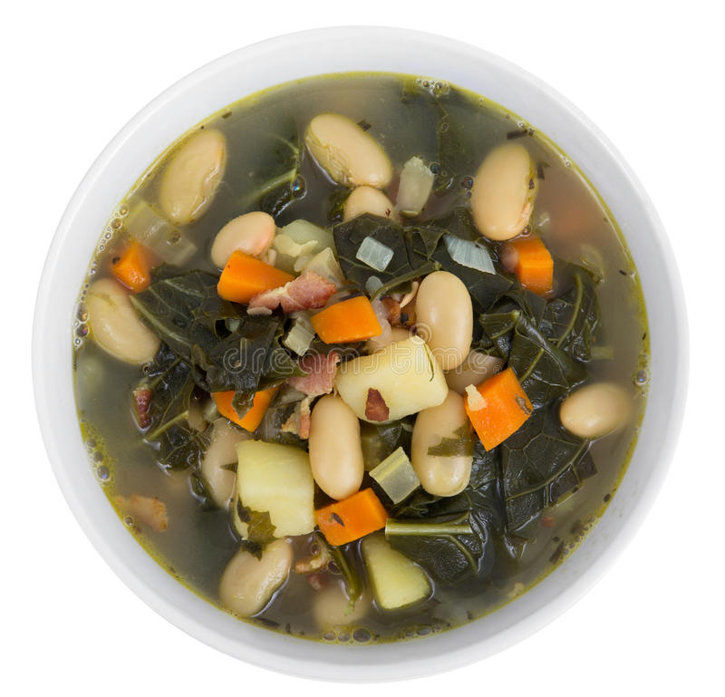 White bean bacon and kale soup royalty free stock photos