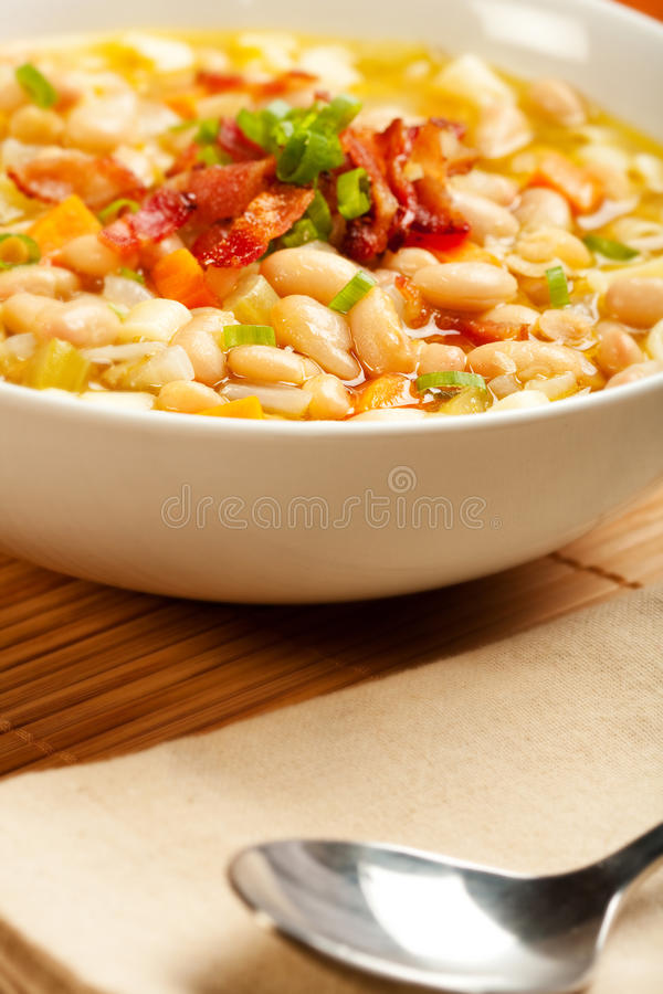 Download White Bean and Pasta Soup stock photo. Image of bacon - 15297330