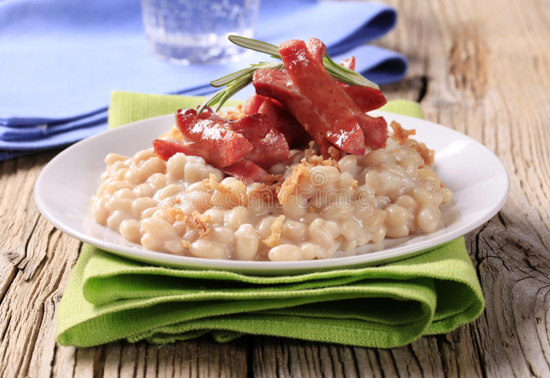 White beans with wursts royalty free stock image