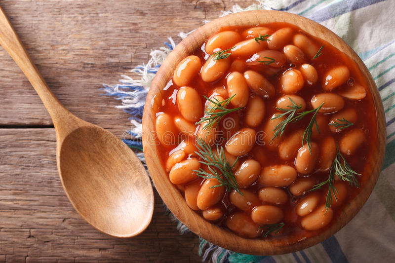 White beans in tomato sauce horizontal top view royalty free stock images