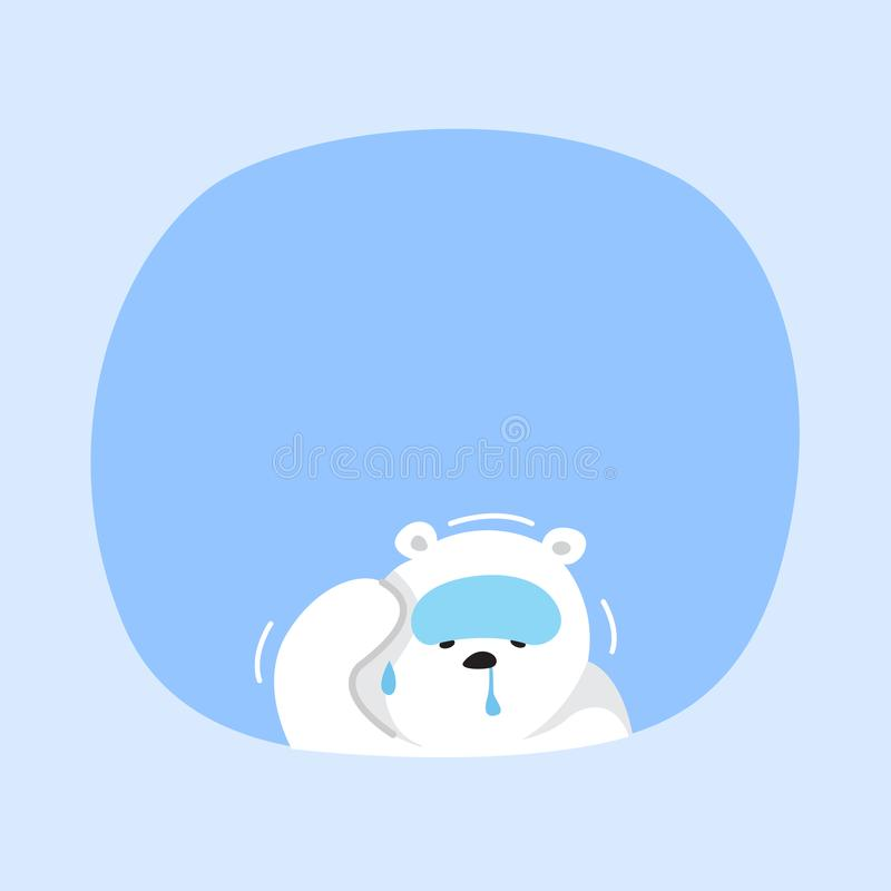 White bear cartoon character cute on blue pastel color background for banner copy space empty, white bear on speech bubble. A white bear cartoon character cute stock illustration