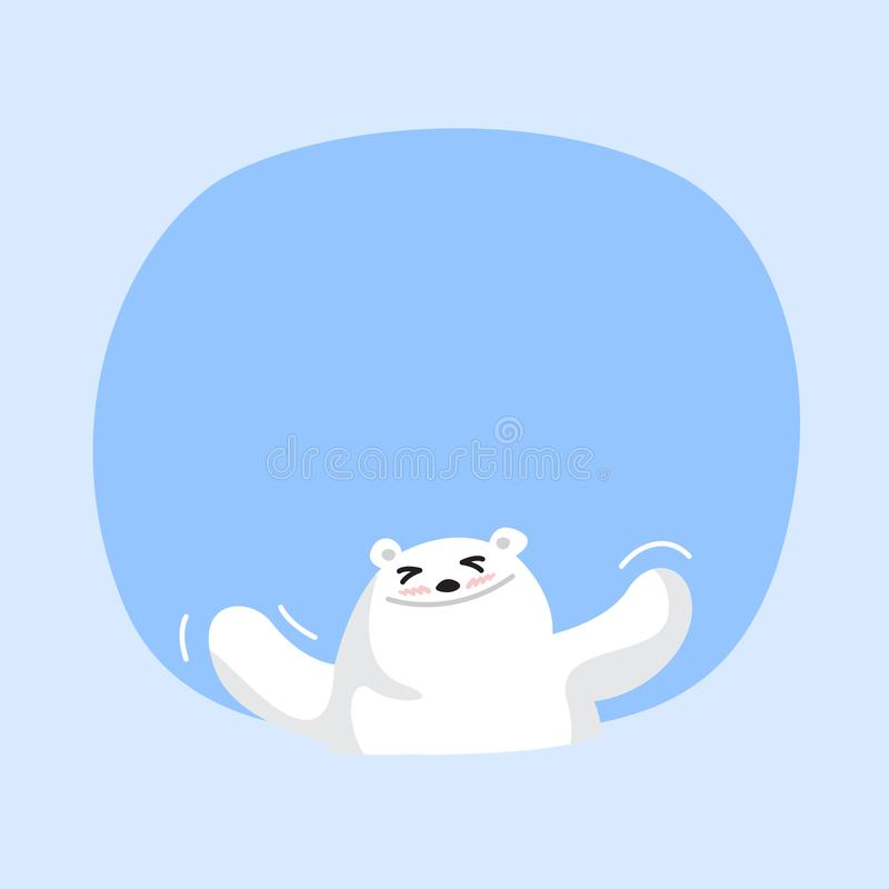 White bear cartoon character cute on blue pastel color background for banner copy space empty, white bear on speech bubble. A white bear cartoon character cute royalty free illustration