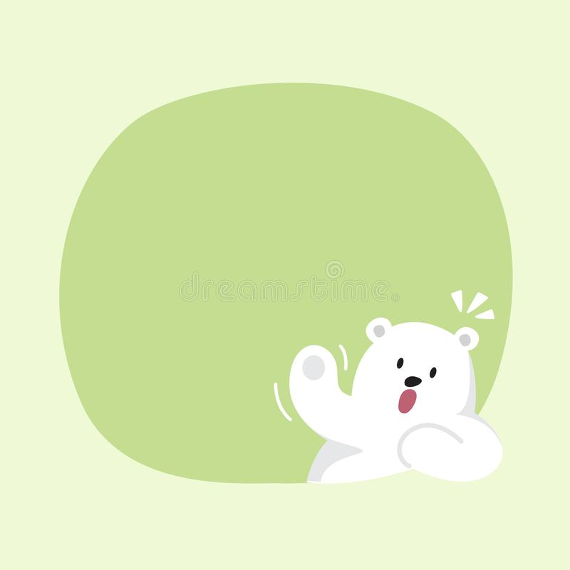 White bear cartoon character cute on green pastel color background for banner copy space empty, white bear on speech bubble. A white bear cartoon character cute vector illustration