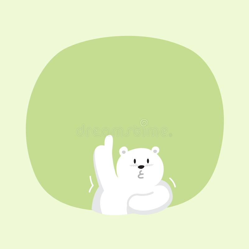 White bear cartoon character cute on green pastel color background for banner copy space empty, white bear on speech bubble. A white bear cartoon character cute stock illustration