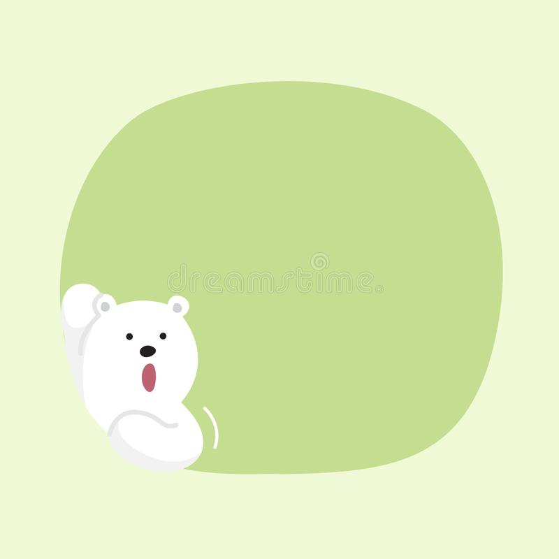 White bear cartoon character cute on green pastel color background for banner copy space empty, white bear on speech bubble. A white bear cartoon character cute royalty free illustration