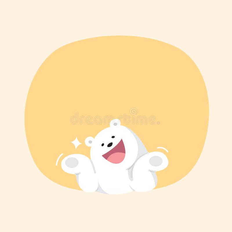White bear cartoon character cute on orange pastel color background for banner copy space empty, white bear on speech bubble. A white bear cartoon character cute stock illustration