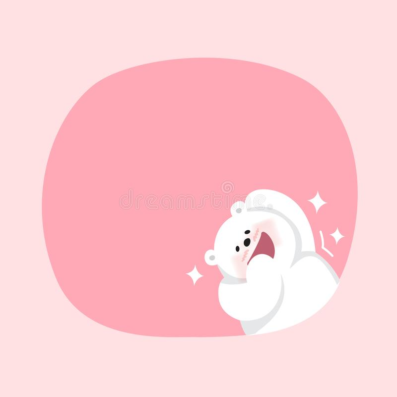 White bear cartoon character cute on pink pastel color background for banner copy space empty, white bear on speech bubble. A white bear cartoon character cute stock illustration