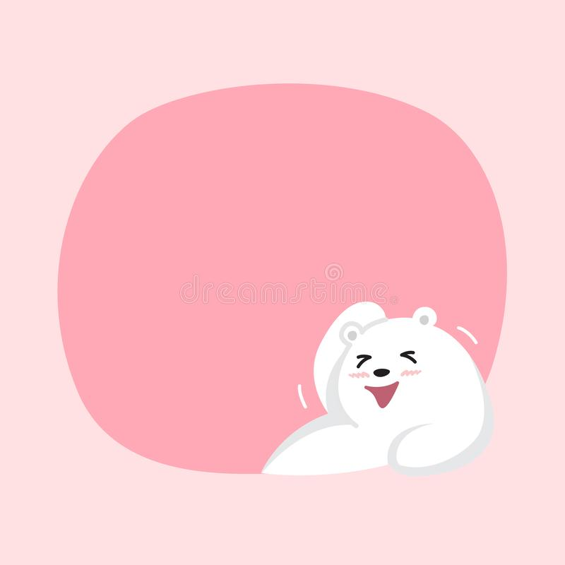 White bear cartoon character cute on pink pastel color background for banner copy space empty, white bear on speech bubble. A white bear cartoon character cute vector illustration