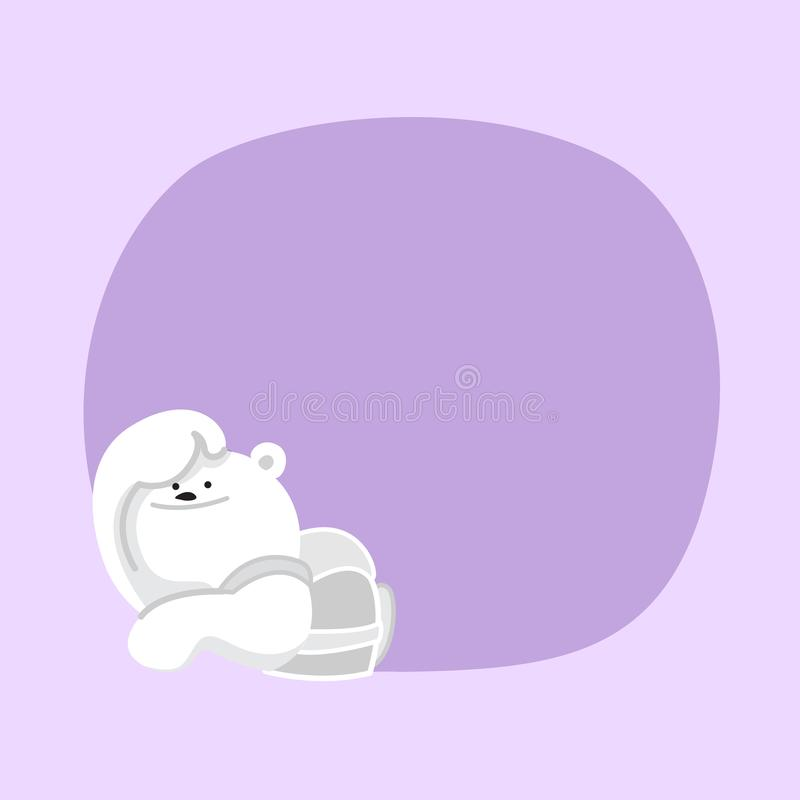 White bear cartoon character cute on purple pastel color background for banner copy space empty, white bear on speech bubble. A white bear cartoon character cute stock illustration