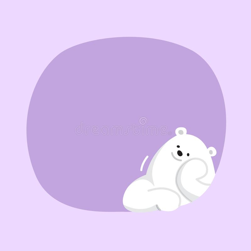 White bear cartoon character cute on purple pastel color background for banner copy space empty, white bear on speech bubble. A white bear cartoon character cute royalty free illustration