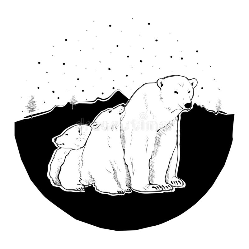 White Bear and cubs. Bear and her cubs on white background. Design for printing on t-shirts and various surfaces. Vector illustration - Vector royalty free illustration