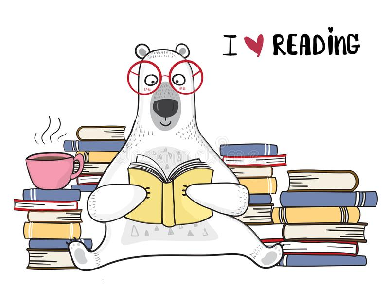 White bear in red glasses is reading book with pile of books stock illustration