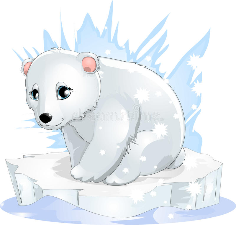 White bear. The white bear sits on an ice floe royalty free illustration