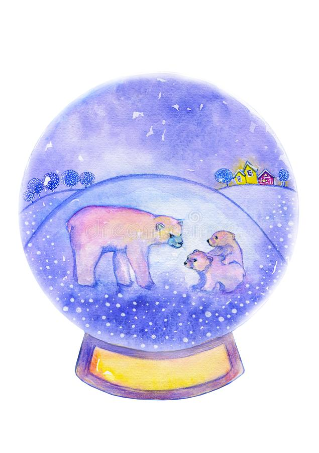 White bear with two cubs on the background of a winter landscape with housesand hills. Watercolor christmas card. Glass snow ball with snow with a rare animal royalty free illustration