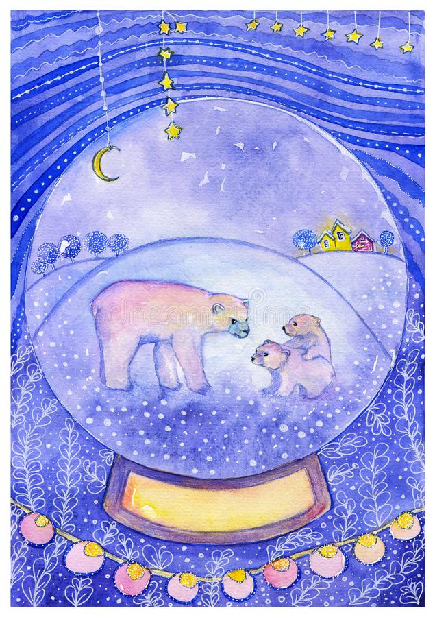 White bear with two cubs in snowball on decorative background. Watercolor christmas card. Glass snow ball with snow with a rare animal inside. White bear with stock illustration