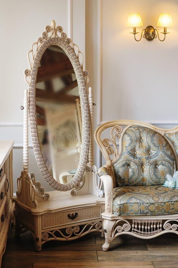 White beautiful mirror in luxury bedroom interior royalty free stock photos