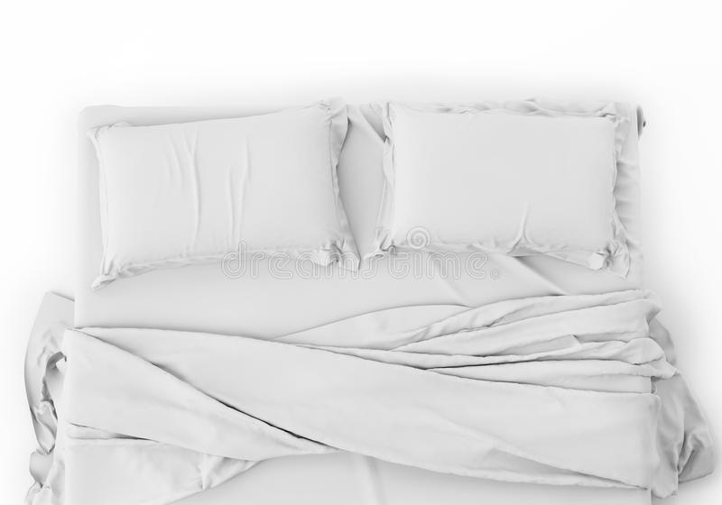 White Bed In Empty Space Isolated on White background, Render stock photo