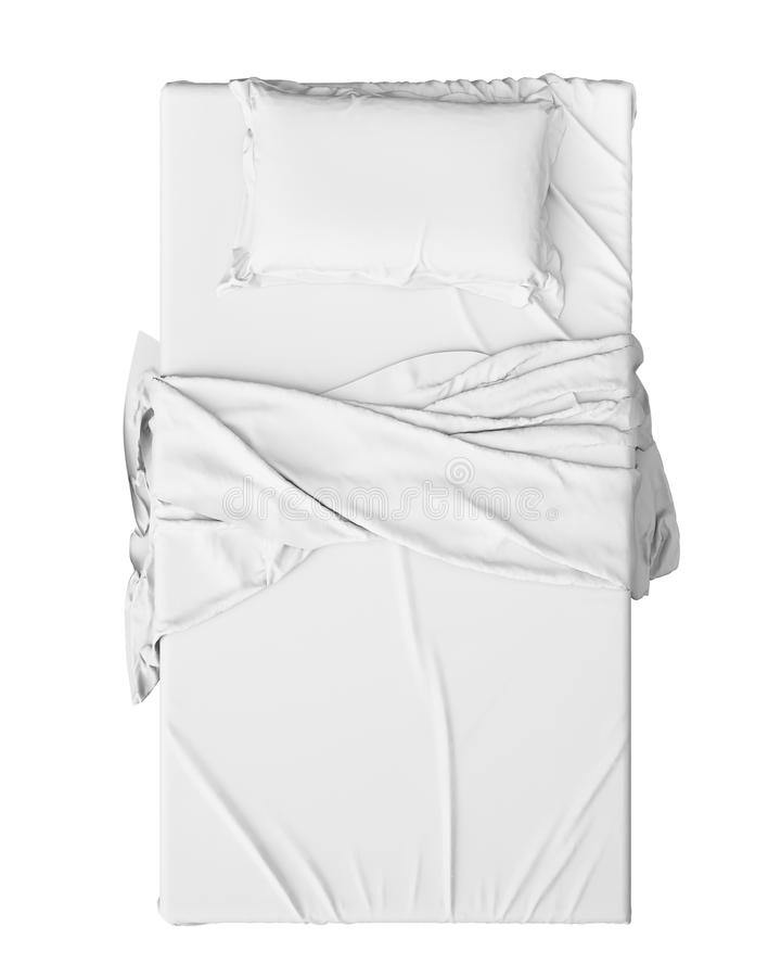White Bed In Empty Space Isolated on White background, Render stock image