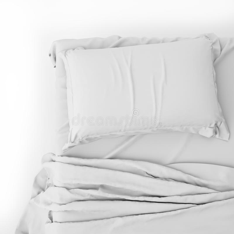 White Bed In Empty Space on White, Render stock photo