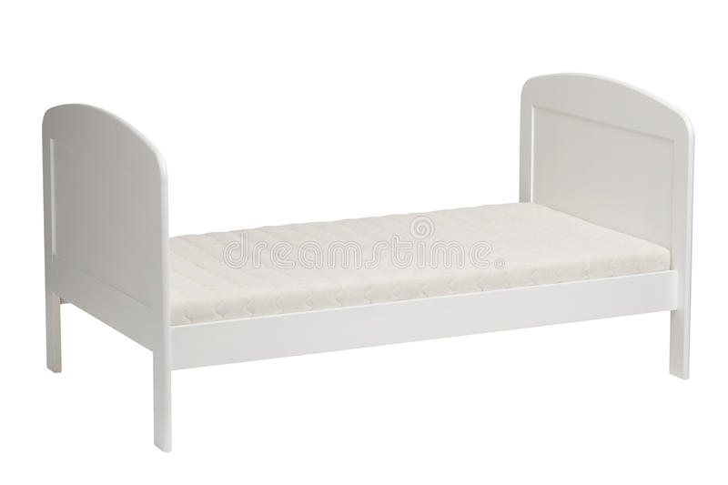 White bed for kids stock photos
