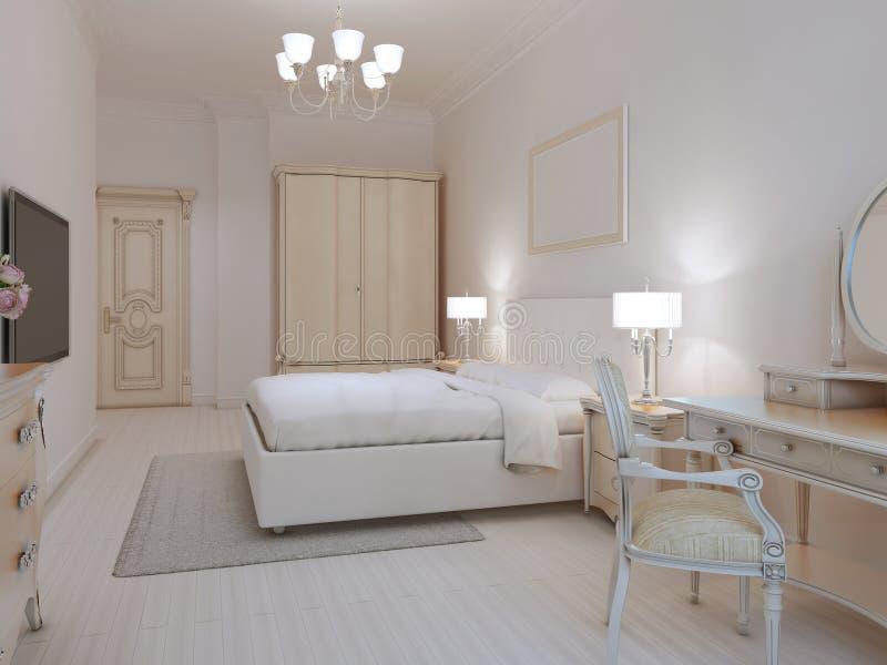 white bedroom art deco style stock illustration illustration 61335409. Black Bedroom Furniture Sets. Home Design Ideas