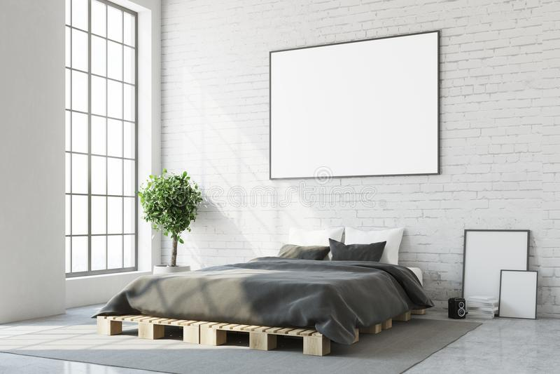 White bedroom corner, horizontal poster close up. White bedroom corner with a concrete floor, a master bed and a framed horizontal poster above it. A close up vector illustration