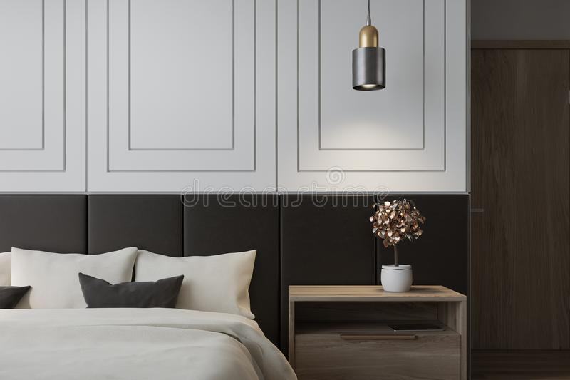 White bedroom interior. With a double bed with a white bedclothes and gray and white pillows and a bedside table. 3d rendering mock up vector illustration